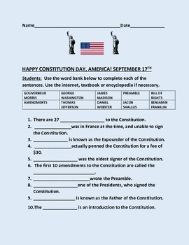 CONSTITUTION DAY WORD BANK ACTIVITY
