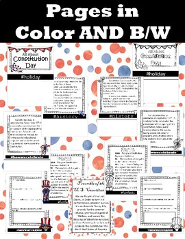 CONSTITUTION DAY - grades k-2 flipbook comprehension / activities