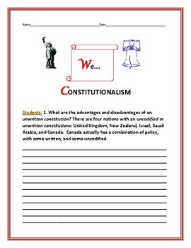 CONSTITUTION DAY: A SOCIAL STUDIES RESEARCH ACTIVITY: CONSTITUTIONALISM