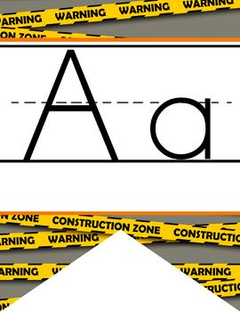 CONSTRUCTION - Alphabet Flag Banner, handwriting, A to Z, ABC print font