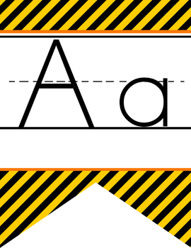 CONSTRUCTION - Alphabet Flag Banner, handwriting, A to Z, ABC print font