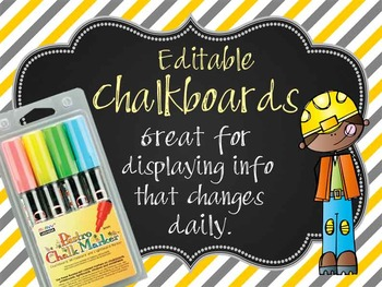CONSTRUCTION - Class Decor: editable chalkboard POSTERS /