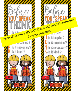 CONSTRUCTION - Classroom Decor: LARGE BANNER, Before You Speak