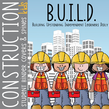 CONSTRUCTION kids - Binder Covers, EDITABLE so you can personalize