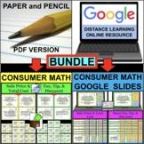 CONSUMER MATH Tax Tip Discount Cost Sale Task Cards BUNDLE PDF & Google Slides