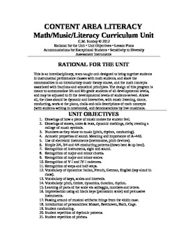CONTENT AREA LITERACY:  Math/Music/Literacy Curriculum Unit