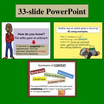 CONTEXT CLUES grades 9-12: Lesson, PowerPoint, Task Cards, Worksheets  PLUS
