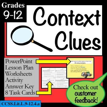 CONTEXT CLUES grades 9-12: Lesson, PowerPoint, Task Cards,