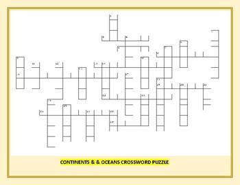 CONTINENTS & OCEANS: A CROSSWORD PUZZLE: GRADES 4-8