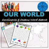 """CONTINENTS AND OCEANS """"WORD SEARCH"""""""
