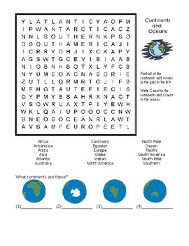 CONTINENTS WORD SEARCH