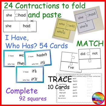 CONTRACTIONS Activities Bundle Print Tasks Anchor Charts Activities Foldables