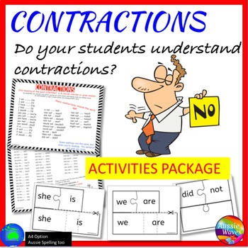 CONTRACTIONS Activities Bundle, Tasks, Anchor Charts, Acti