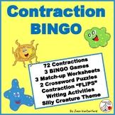 CONTRACTIONS BINGO GAMES Grades 3-4-5-6  VOCABULARY Activities | Puzzles