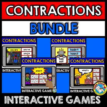 CONTRACTIONS GAMES (BOOM CARDS BUNDLE LANGUAGE DIGITAL CARDS) GRAMMAR ACTIVITIES
