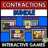 CONTRACTIONS GAMES (BOOM CARDS BUNDLE LANGUAGE DIGITAL CARDS) GRAMMAR ACTIVITIES