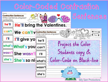 CONTRACTIONS VALENTINE'S DAY PowerPoint Lesson  Printables