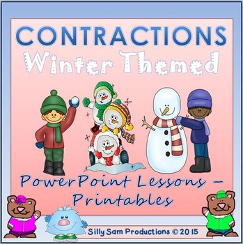 CONTRACTIONS! Winter Themed PowerPoint Lesson-Printables