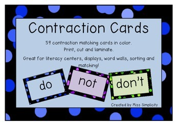 CONTRACTIONS – sorting and matching cards - 59 CONTRACTIONS