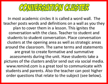 CONVERSATION CLUSTER / WORD WALL SOFTBALL