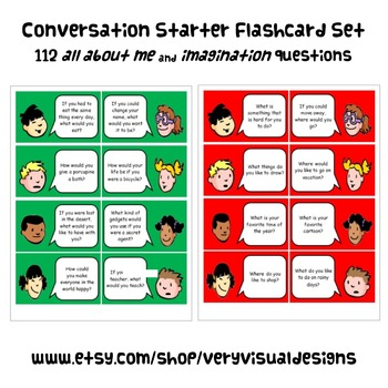 CONVERSATION STARTER FLASHCARDS autism special education s