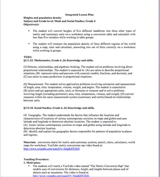 CONVERSIONS Integrated Lesson Plan