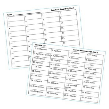 CONVERT CUSTOMARY UNITS OF MEASURES Word Problems - Task Cards {40 Cards}