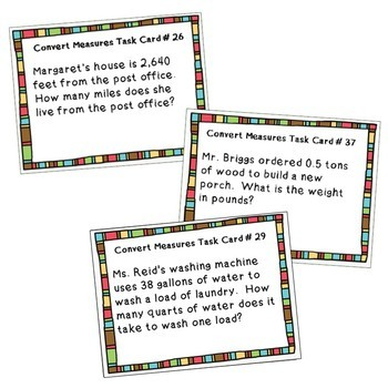 CONVERT CUSTOMARY UNITS Bundle - Task Cards, Graphic Organizers, Puzzles