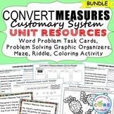 CONVERT CUSTOMARY UNITS Bundle - Task Cards, Graphic Organ