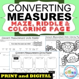 CONVERT CUSTOMARY UNITS OF MEASURE Maze, Riddle & Coloring Page (Fun Activities)