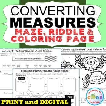 CONVERT CUSTOMARY UNITS OF MEASURE Maze, Riddle & Coloring