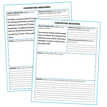 CONVERT CUSTOMARY UNITS OF MEASURE Word Problems with Graphic Organizer