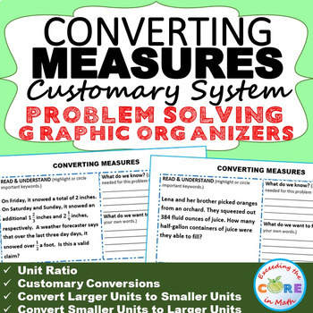 CONVERT CUSTOMARY UNITS OF MEASURE Word Problems with Grap