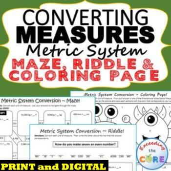 CONVERT METRIC UNITS OF MEASURE Maze Riddle Color by Number FUN