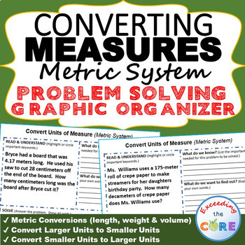 CONVERT METRIC UNITS OF MEASURE Word Problems with Graphic Organizer