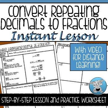 CONVERT REPEATING DECIMALS TO FRACTIONS
