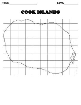 COOK ISLANDS Coordinate Grid Map Blank