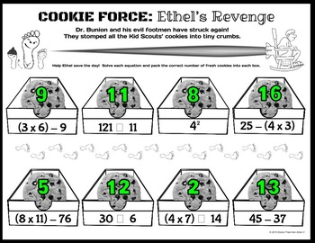 COOKIE FORCE: Ethel's Revenge (NO PREP numerical expressions - mixed operations)