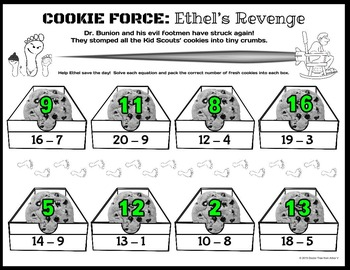 COOKIE FORCE: Ethel's Revenge (NO PREP math: subtraction facts up to 20)