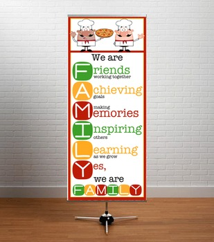 COOKING / CHEF theme - Classroom Decor: LARGE BANNER, We Are FAMILY