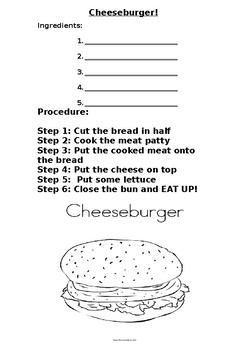 COOKING CLASS - Cheeseburger worksheet