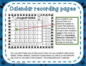 COOL CAT Behavior Clip Chart and Calendar PRINT AND GO 2018-2019