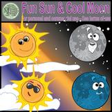 Cool Moon Fun Sun Clip Art (Single Set) {Messare Clips and Design}