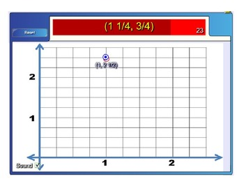 COORDINATE GRAPH INTERACTIVE QUAD 1 HOTSPOT GAME (FOURTHS) FOR 6TH , 7TH & 8TH