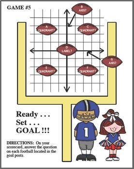 COORDINATE PLANE FOOTBALL GAME Quadrants