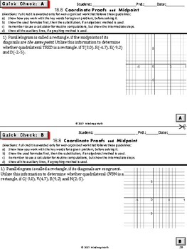 COORDINATE PROOFS (Geometry Curriculum in 5 min tasks - Unit 18)