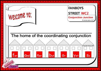 COORDINATING CONJUNCTIONS ON FANBOYS STREET!  Visual lesson.