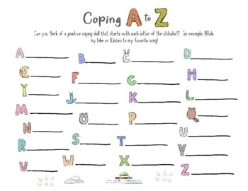 Coping Skills Alphabet Worksheets & Teaching Resources | TpT