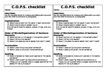 proofreading checklist middle school pdf