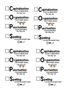 COPS Writing Checklist Pack {For Younger Grades}